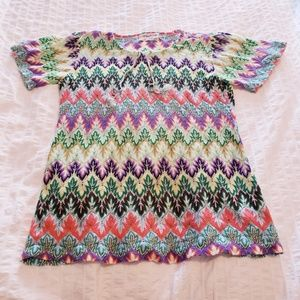 Tops - Funky Colorful Acid Trip Vintage Short Sleeve M
